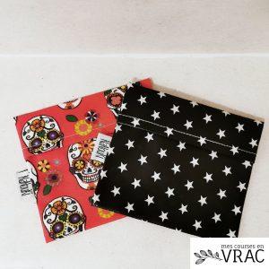 Lot de 2 pochettes Dia de la muerte et black star - Mes courses en vrac