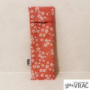 Pochette à brosse à dents enduite pink flowers - Mes courses en vrac