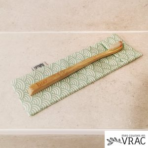 Pochette à brosse à dents vague verte - mes courses en vrac