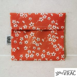 Pochette en tissu enduite - pink flower - Mes courses en vrac